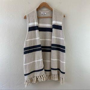 Madewell Ivory Striped Fringe Hem Tunic Sweatshirt
